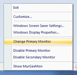 System tray menu allows to change primary monitor to external monitor and vice versa
