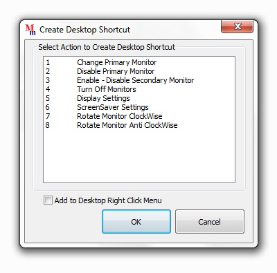 Screenshot displays a window to create shortcut on desktop to control dual monitor(s)