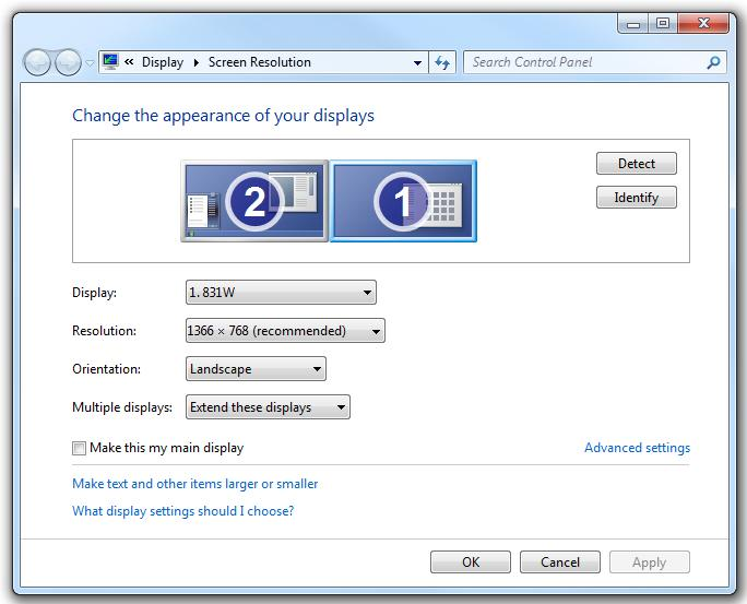 Screen Resolution settings of Windows 7 to extend display in dual monitor computer
