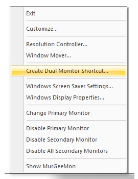 Screenshot of dual display system tray menu control primary / secondary monitors