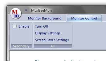Screenshot of Monitor Control Tab of MurGeeMon
