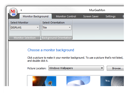 Screenshot of Dual Monitor Software to change wallpaper for every monitor in a dual monitor computer