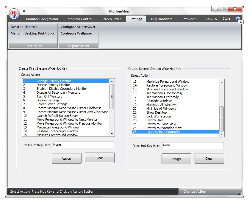 Settings tab to control various features of Dual Monitor Computer