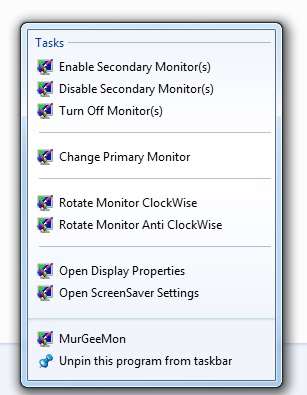 Screenshot displaying JumpList tasks of MurGeeMon on Windows 7