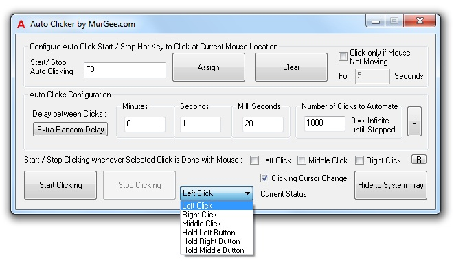 Main Screen of Auto Clicker Software Utility