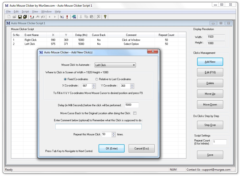 Main Screen of Auto Mouse Clicker Software Utility