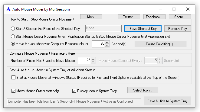 Main Screen of Auto Mouse Mover Utility to Configure Automatic Mouse Movements