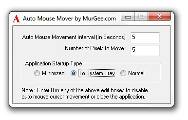 Auto Mouse Mover Utility's Main Screen
