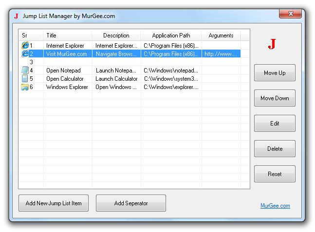 Create Configurable Jump List on Windows 7