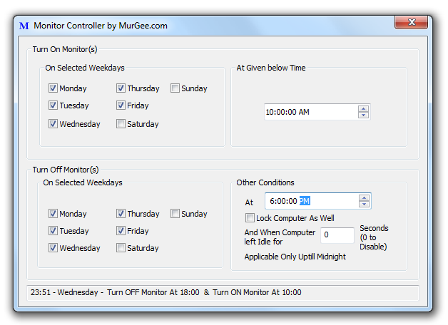 Main Screen of Monitor Controller to configure the software