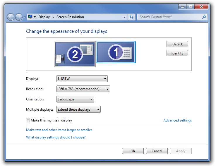 Screenshot displaying Windows 7 Screen resolution page to extend the display area with two monitors connected to the computer