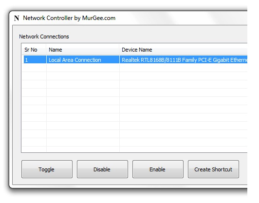 Network Controller Window to view Network Connections and enable / disable LAN Connections
