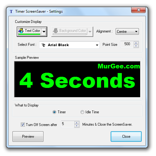 The Screenshot displays available configurable options for the Timer ScreenSaver