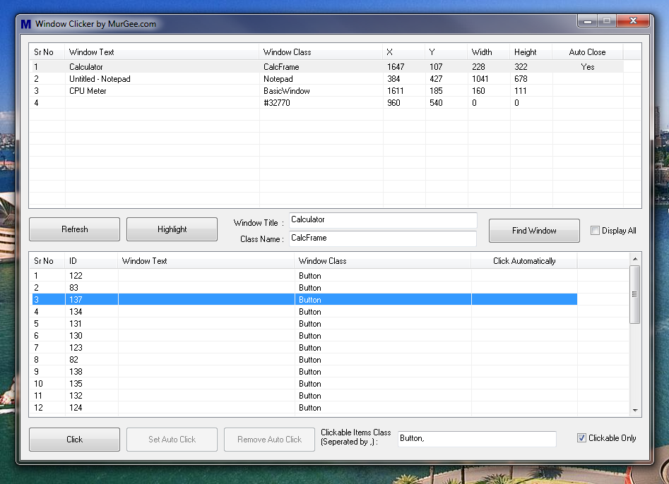 Main Window of Window Clicker Software to Click on Windows Automatically